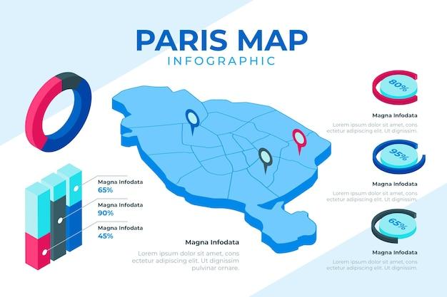 Infografiki Mapy Izometryczny Paryża Darmowych Wektorów
