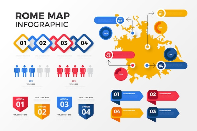 Infografiki Mapy Rzymu W Płaskiej Konstrukcji Darmowych Wektorów
