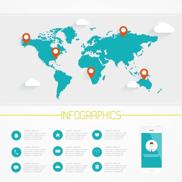 Infografiki mapy świata. wektor eps10. Premium Wektorów