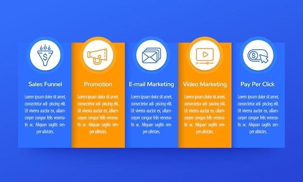 Infografiki Marketingu Cyfrowego, Projektowanie Banerów Z Ikonami Premium Wektorów