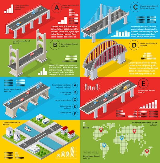 Infografiki mostów w tej dziedzinie Premium Wektorów