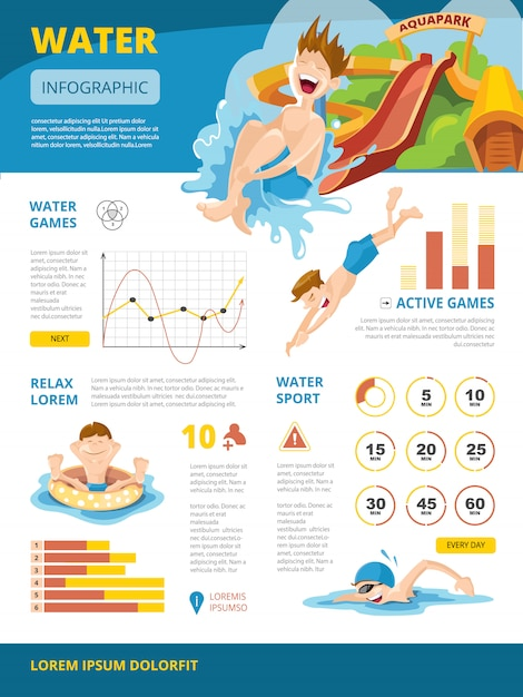 Infografiki o grach wodnych Premium Wektorów