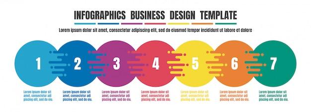 Infografiki osi czasu kolorowy szablon dla biznesu Premium Wektorów