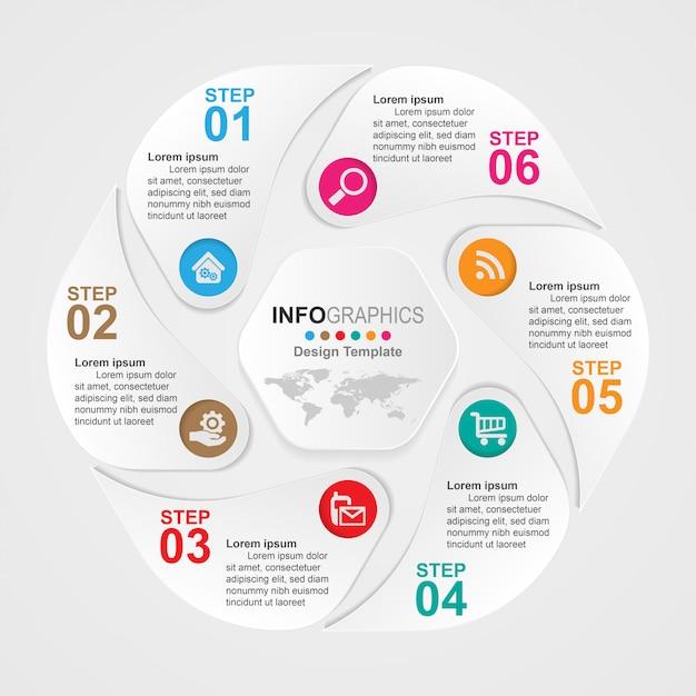 Infografiki Osi Czasu Procesu Biznesowego 6 Kroków. Premium Wektorów