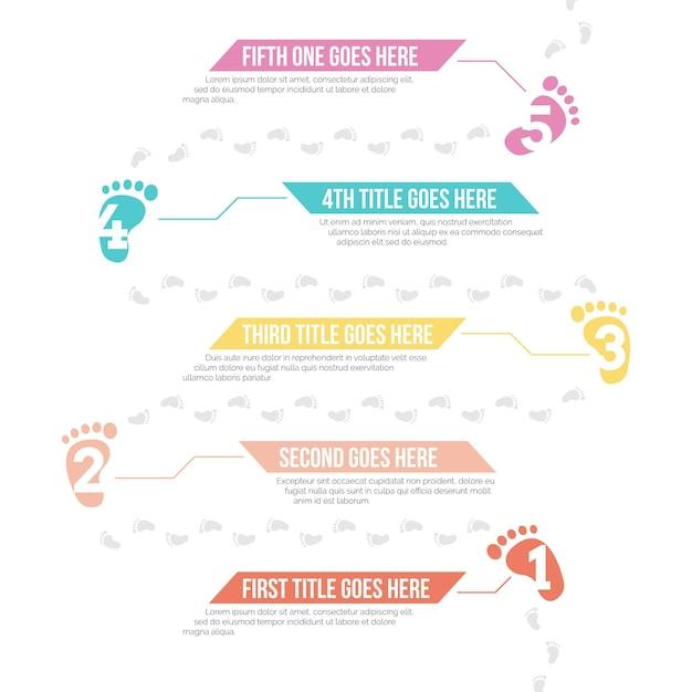 Infografiki Płaskiego śladu Premium Wektorów