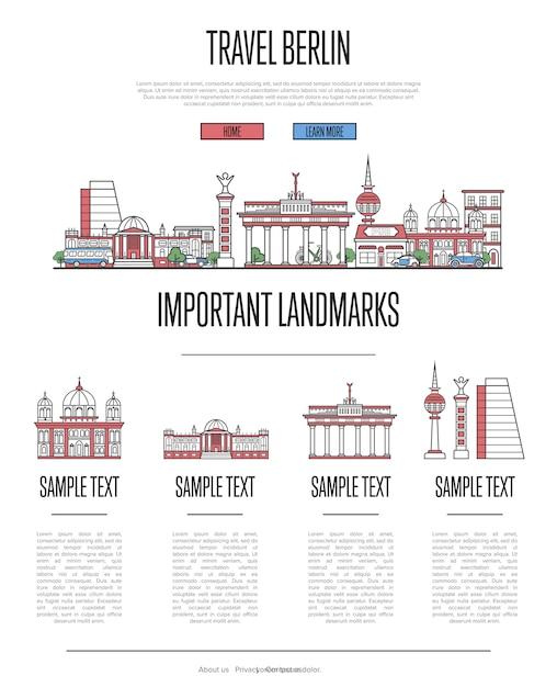 Infografiki podróży berlin w stylu liniowym Premium Wektorów