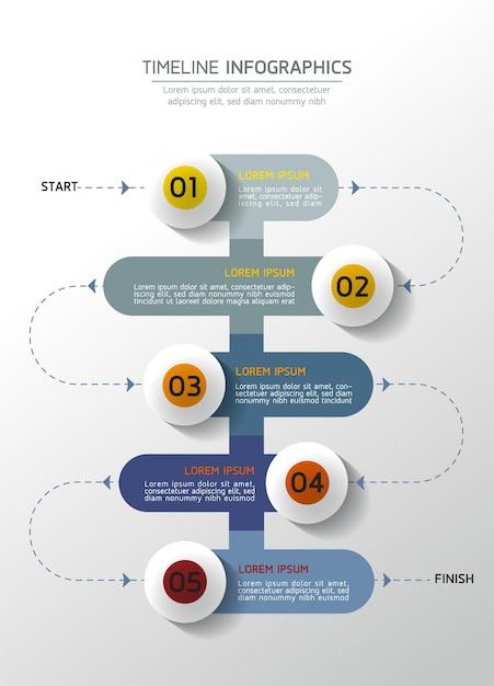 Infografiki. Prezentacja I Wykres. Kroki Lub Procesy. Liczba Opcji Projekt Szablonu Przepływu Pracy, 5 Kroków. Premium Wektorów