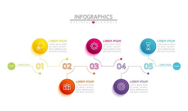 Infografiki. Prezentacja I Wykres. Kroki Lub Procesy. Opcje Numer Projektu Szablonu Przepływu Pracy. 5 Kroków. Premium Wektorów
