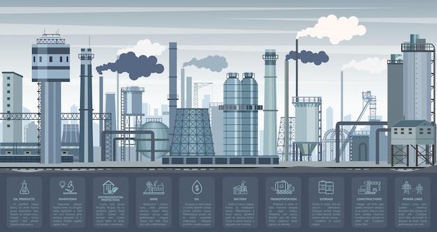 Infografiki Przemysłowe Z Wykresami Symboli Fabryk I Roślin I Ikon. Ilustracja Przemysłu. Premium Wektorów