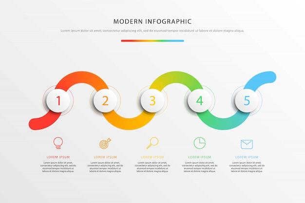 Infografiki przepływu pracy na osi czasu z realistycznymi okrągłymi elementami 3d i ikonami marketingu płaskiej linii Premium Wektorów
