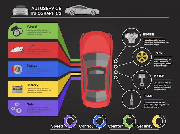 Infografiki Serwisu Samochodowego Z Widokiem Samochodu Z Najlepszych Schematów Szczegółów Maszyny Darmowych Wektorów
