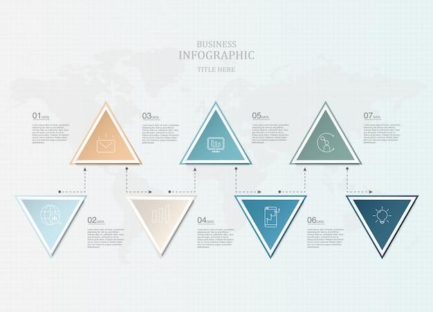 Infografiki siedem element i ikony do prezentacji biznesowych Premium Wektorów