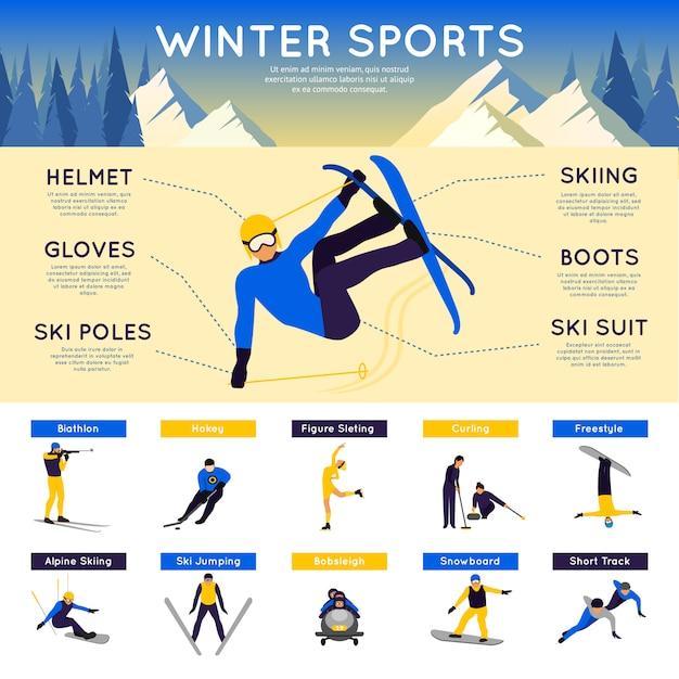 Infografiki sportów zimowych Darmowych Wektorów