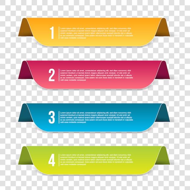 Infografiki szablon transparent krok Premium Wektorów