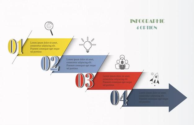 Infografiki szablon z 4 opcjami, kroki, ikony strzałek. Premium Wektorów