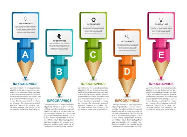 Infografiki szablon z kolorowym ołówkiem. Premium Wektorów