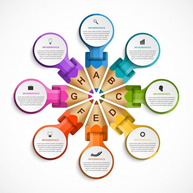Infografiki szablon z kredki. Premium Wektorów