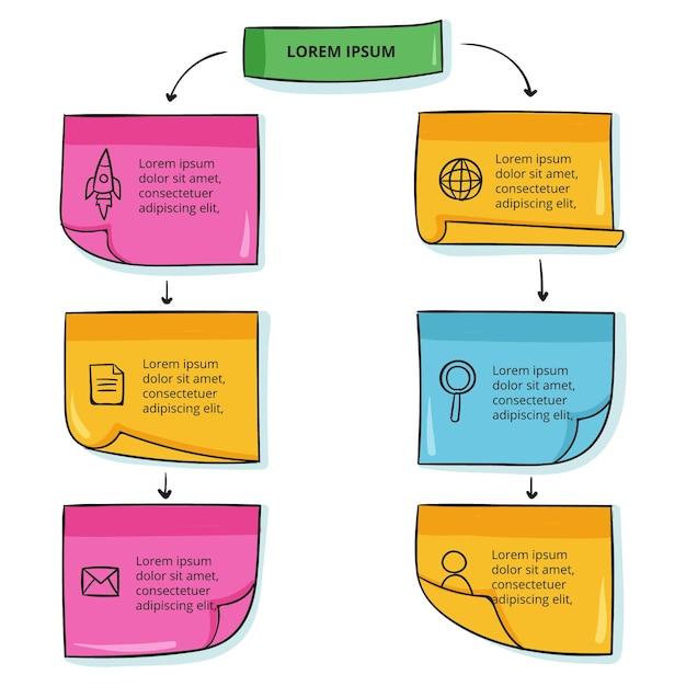 Infografiki Tablic Ręcznie Rysowane Notatki Programu Sticky Notes Premium Wektorów