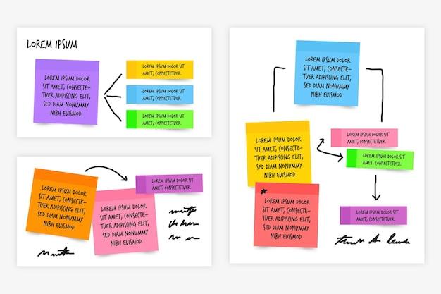 Infografiki Tablic Samoprzylepnych W Płaskiej Konstrukcji Premium Wektorów
