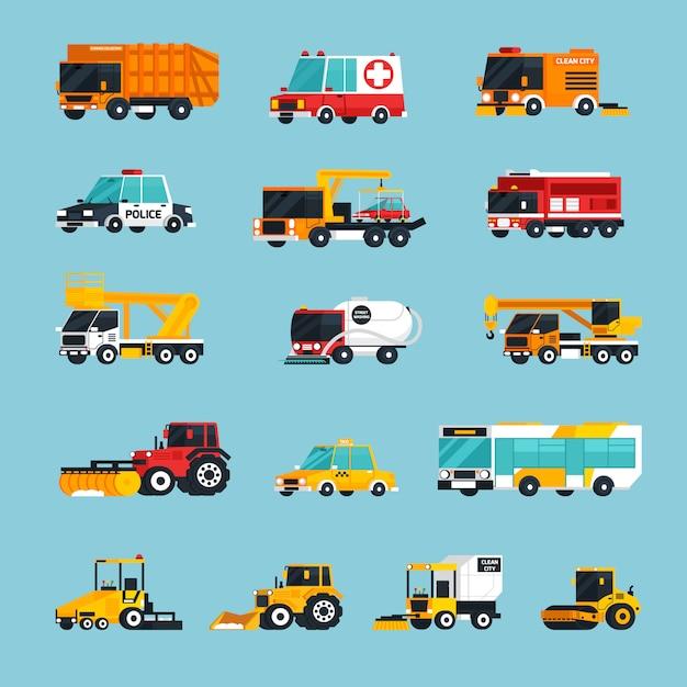 Infografiki transportu specjalnego i awaryjnego Darmowych Wektorów