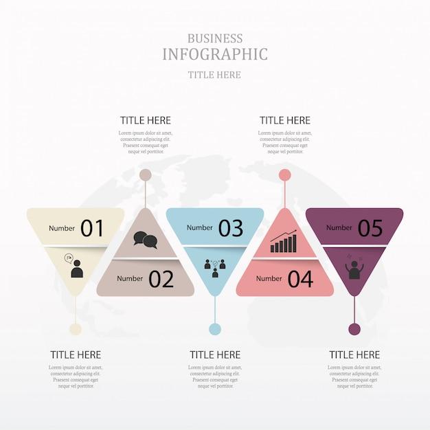 Infografiki trójkąta z 5 kroków. fioletowy kolor koncepcji. Premium Wektorów