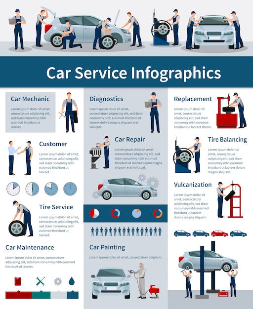 Infografiki usługi naprawy samochodów Darmowych Wektorów