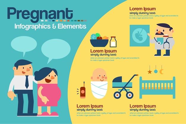 Infografiki w ciąży Premium Wektorów
