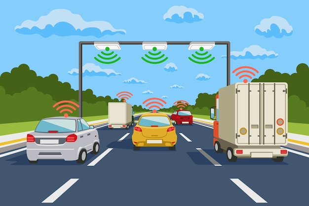 Infografiki Wektor Systemu Komunikacji Autostrady. Komunikacja Drogowa, Ilustracja Komunikacji Systemu Autostrad Darmowych Wektorów