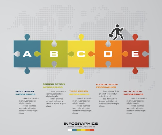 Infografiki Wektor Z 5 Opcji Układanki. Premium Wektorów