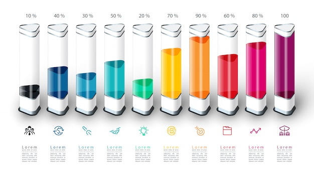 Infografiki wykres słupkowy z kolorowy kawałek 3d. Premium Wektorów