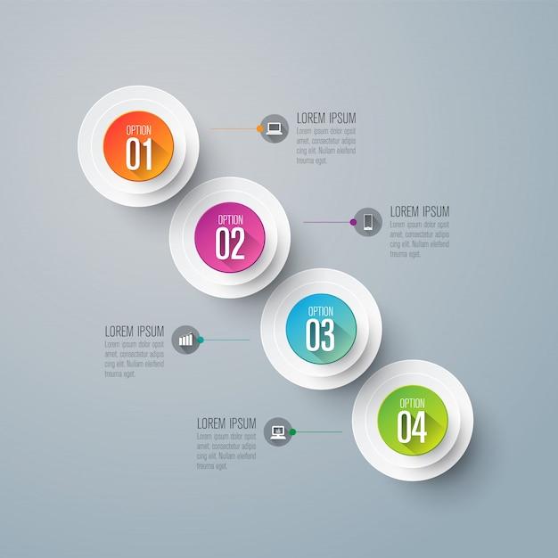 Infografiki z krokami i opcjami Premium Wektorów