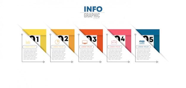 Infographic element z ikonami i 5 opcjami lub krokami. może być używany do procesu, prezentacji, schematu, układu przepływu pracy, wykresu informacyjnego Premium Wektorów