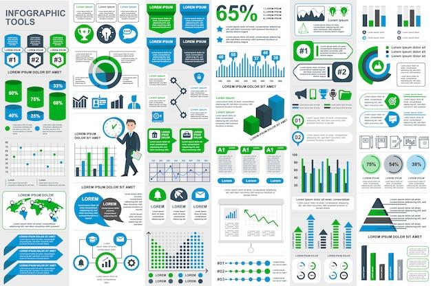 Infographic elementów wektorowy projekta szablon Premium Wektorów