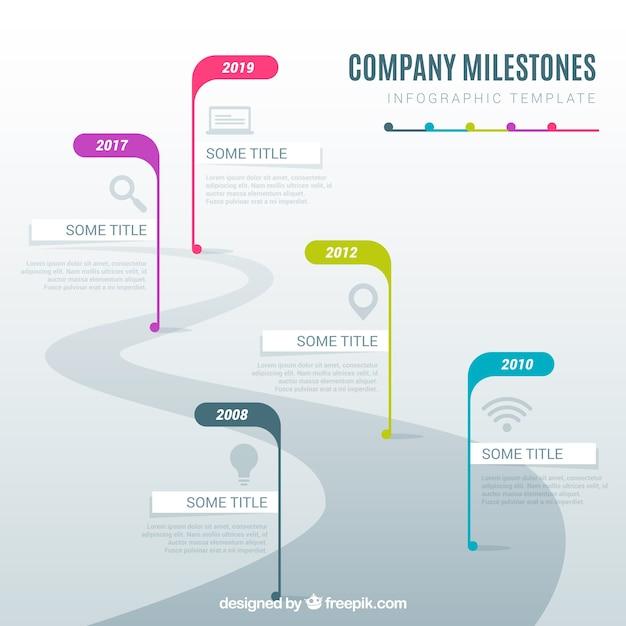 Infographic Firmy Kamieni Milowych Pojęcie Z Drogą Darmowych Wektorów