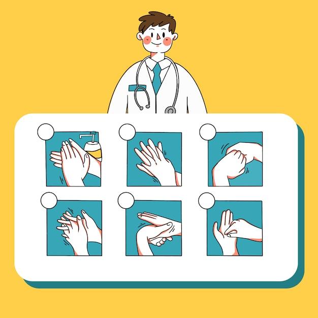 Infographic Samiec Lekarka Wyjaśnia Jak Myć Twój Ręka Szablonu Doodle Ilustrację Premium Wektorów