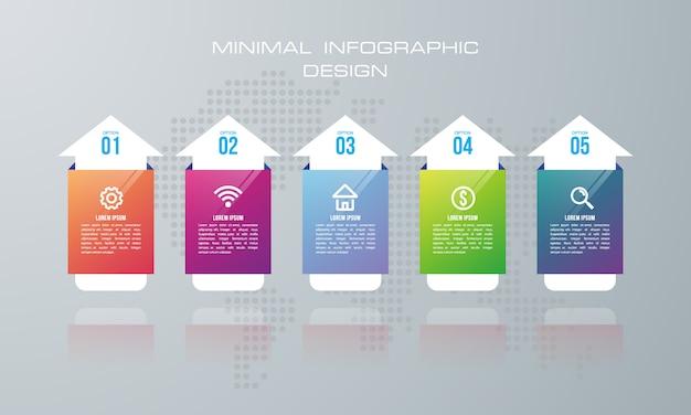 Infographic szablon z 5 opcjami Premium Wektorów