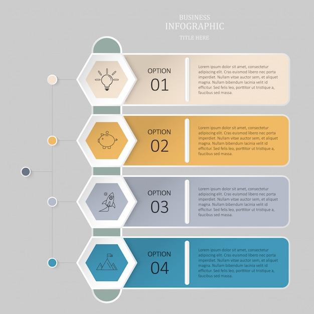 Infographic sześciokąta 4 opcja, kroki lub ikony dla biznesowego pojęcia. Premium Wektorów