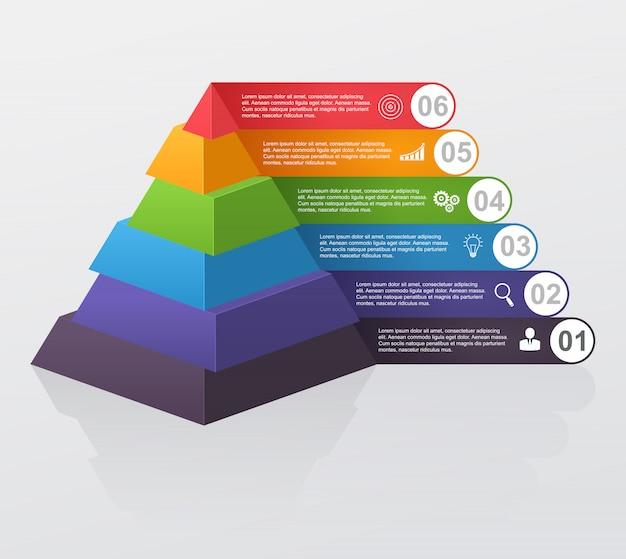 Infographic wielopoziomowy ostrosłup z liczbami i biznesowymi ikonami. Premium Wektorów