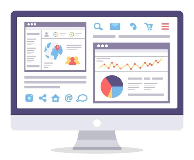 Informacje Dotyczące Analityki Internetowej I Statystyki Dotyczące Tworzenia Witryn Internetowych. Premium Wektorów