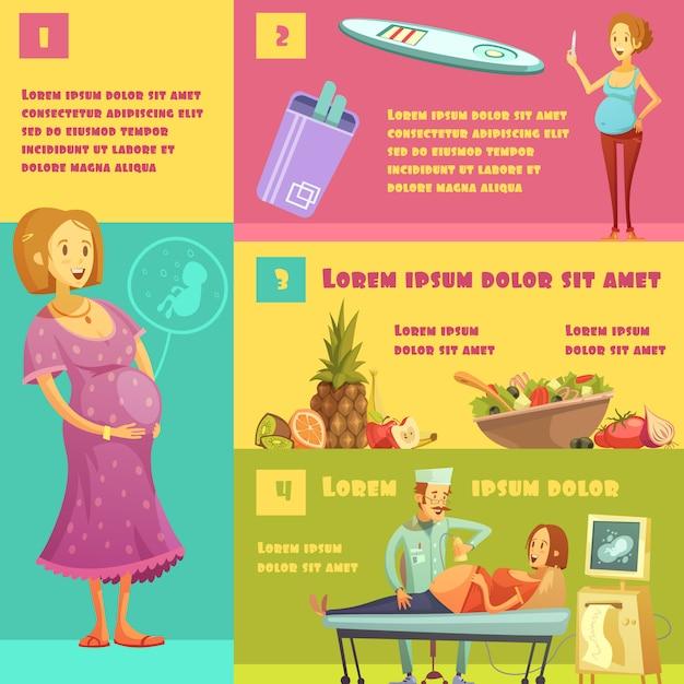 Informacje na temat etapów ciąży z zestawem pasków testowych, porady żywieniowe i badanie ultrasonograficzne Darmowych Wektorów