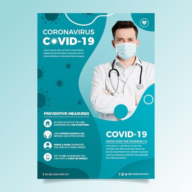 Informacyjna Koncepcja Ulotki Koronawirusa Darmowych Wektorów