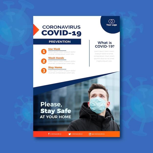 Informacyjna Ulotka Dotycząca Koronawirusa Premium Wektorów