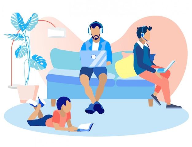 Informacyjny baner call center w domu cartoon. Premium Wektorów