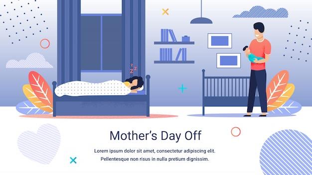 Informacyjny Transparent Napis Dzień Matki Wolny. Premium Wektorów