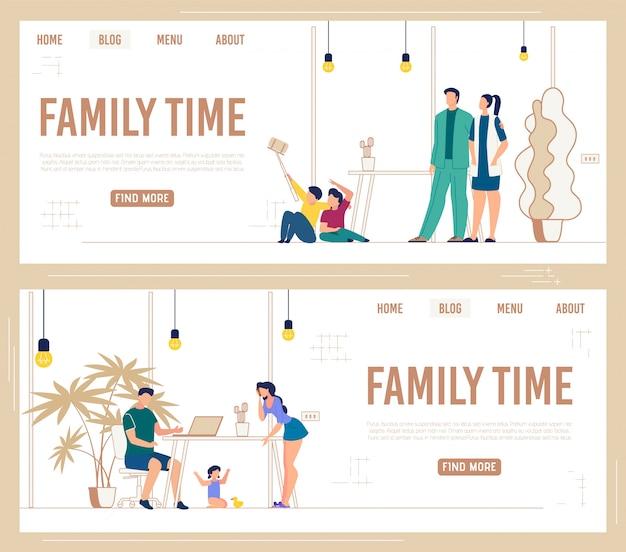 Informacyjny Ustaw Baner Z Napisem Family Time. Darmowych Wektorów