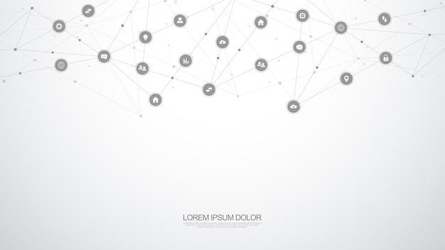 Informatyka Tło Z Elementami Infografiki I Płaskie Ikony. Technologia Cyfrowa, Połączenie Sieciowe I Koncepcja Komunikacji. Premium Wektorów