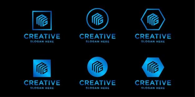 Inicjały Szablonu Projektu Logo Mg Premium Wektorów