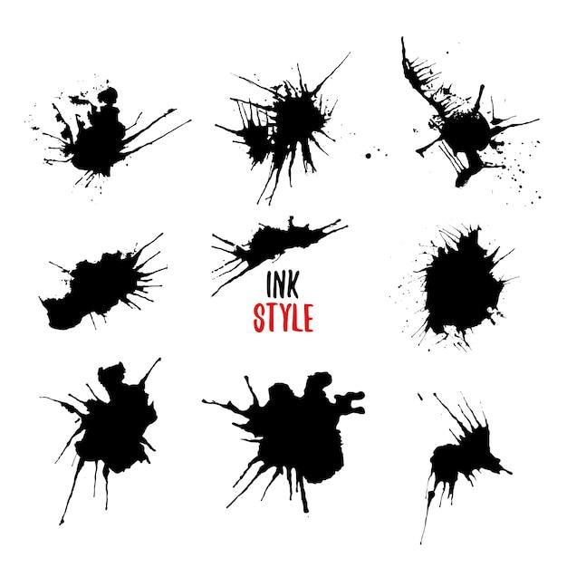 Ink Rozpryskuje Czarny Zestaw. Darmowych Wektorów
