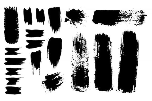 Inked Vector Paint Brush Strokes Set. Duża Kolekcja Czarne Sylwetki Darmowych Wektorów