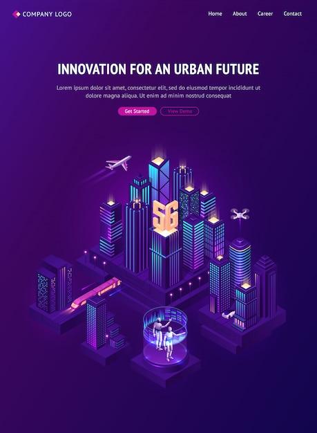 Innowacja Dla Izometrycznej Strony Docelowej Przyszłości W Mieście Darmowych Wektorów